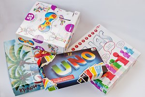 Different board games boxes