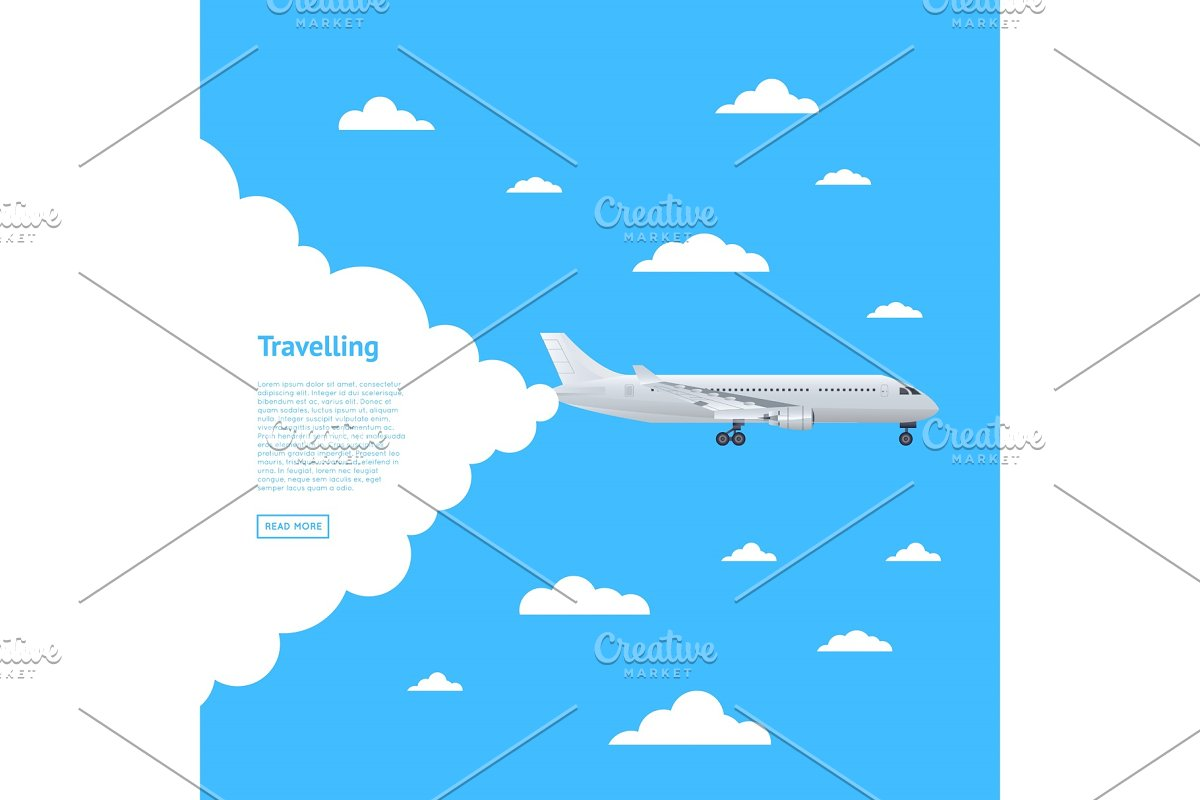 Worldwide air traveling poster with jet airplane in Illustrations - product preview 8