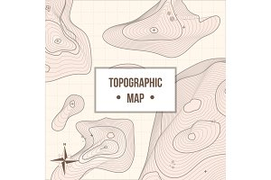 Topographic mapping company banner with relief