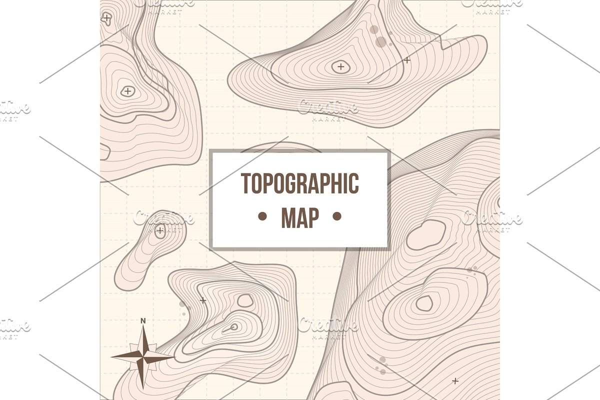 Topographic mapping company banner with relief in Illustrations - product preview 8