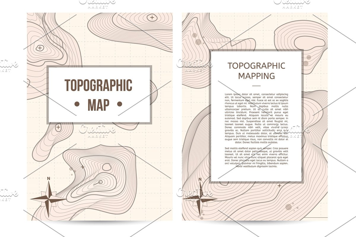 Topographic mapping company banners set in Illustrations - product preview 8