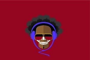 DJ skull icon logo background