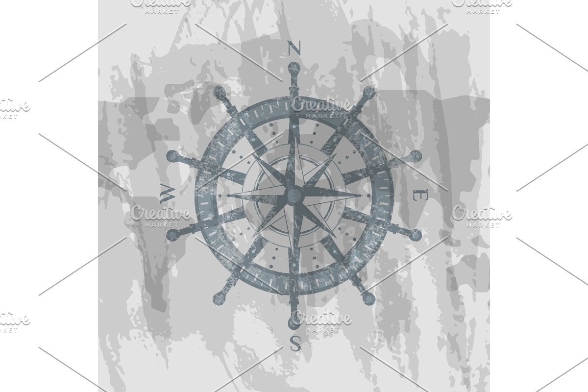 Compass windrose on background of world map in Illustrations - product preview 8