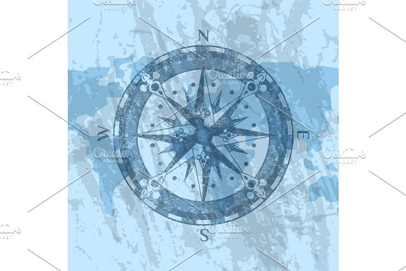 Compass Rose On Background Of World Map Illustrations Creative