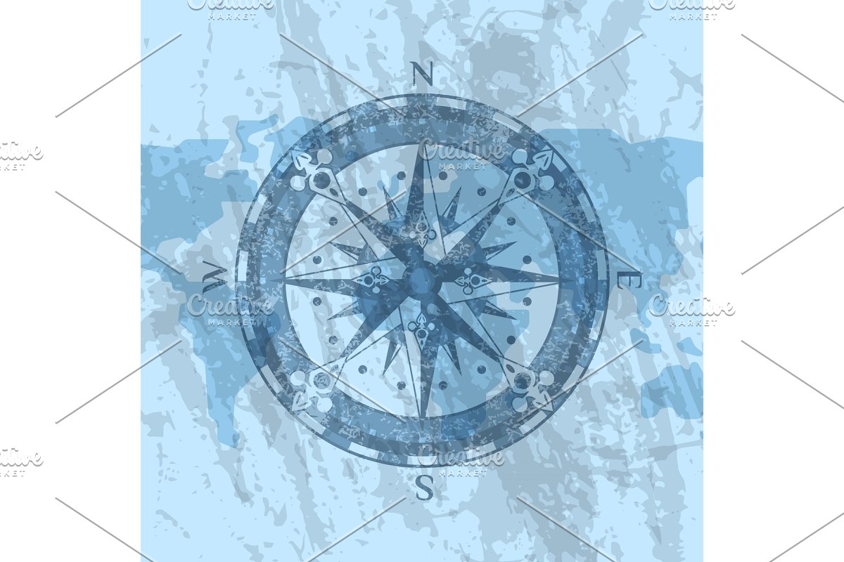 Compass rose on background of world map in Illustrations - product preview 8