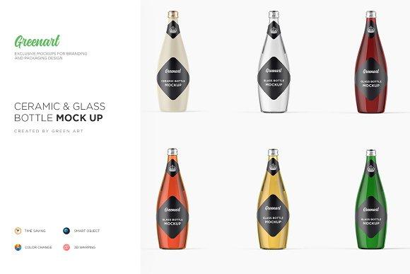 Glass Ceramic Bottle- 6 PSD Mockup