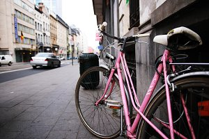 Pink Bicycle in Bruxelles