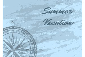 Summer vacation banner with wind rose