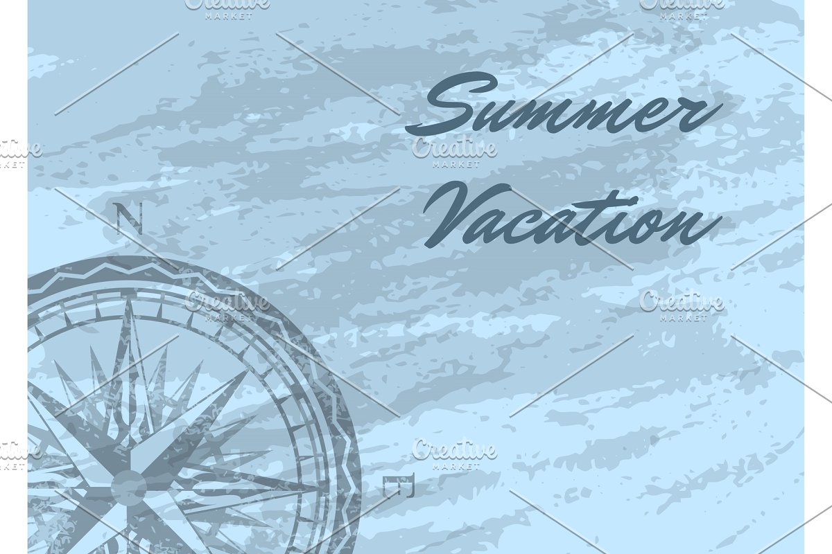 Summer vacation banner with wind rose in Illustrations - product preview 8