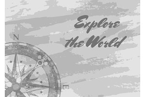 Explore the world banner with compass rose