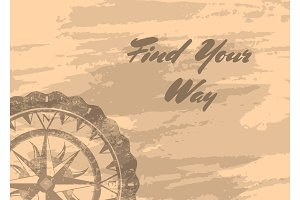 Find your way banner with compass windrose