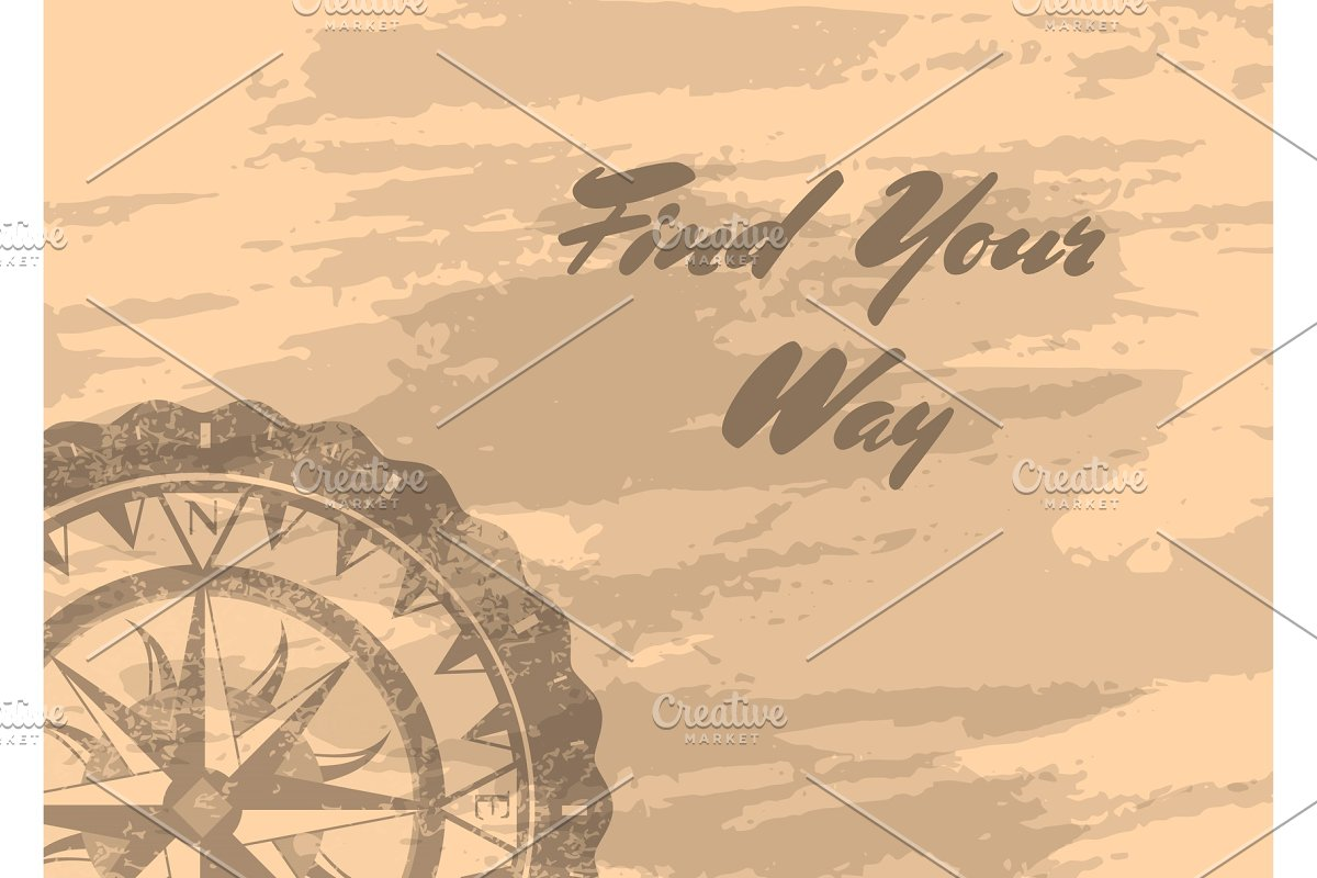 Find your way banner with compass windrose in Illustrations - product preview 8