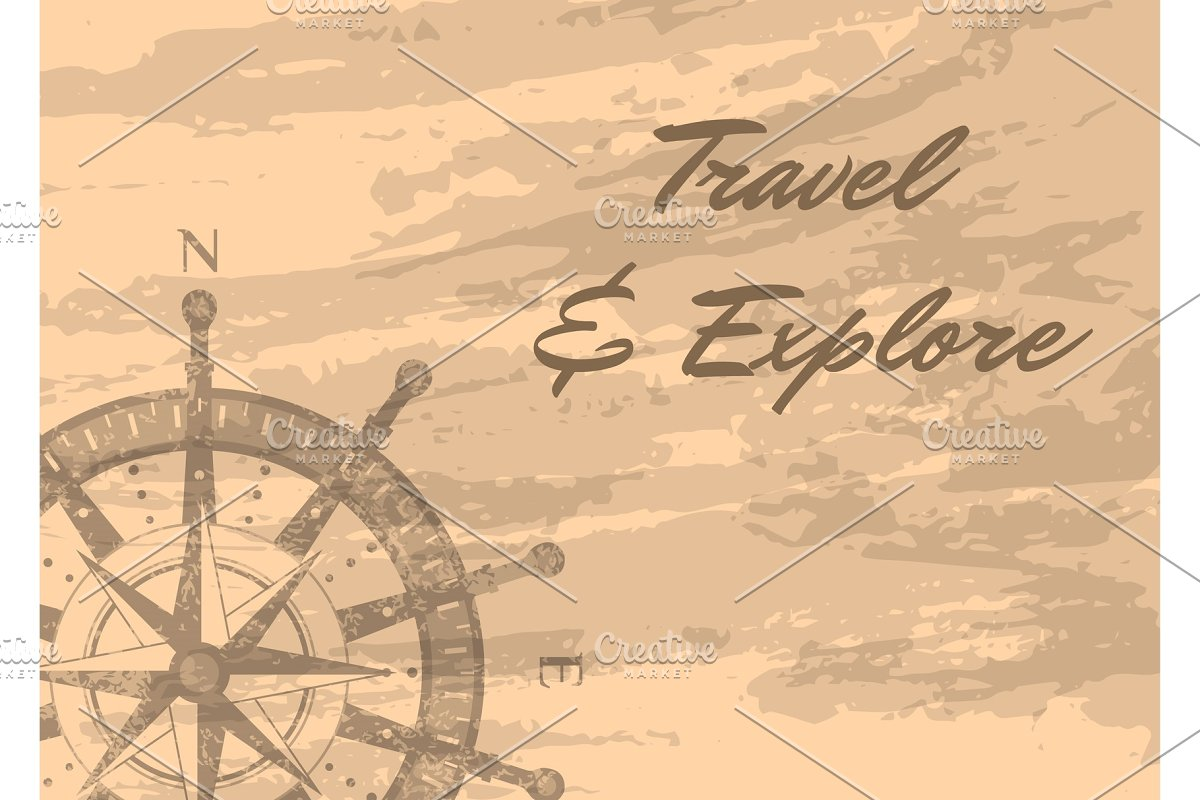 Travel and explore banner with compass windrose in Illustrations - product preview 8