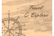 Travel and explore banner with compass windrose