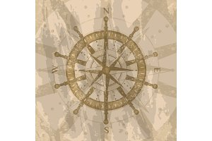 Vintage wind rose on background of world map
