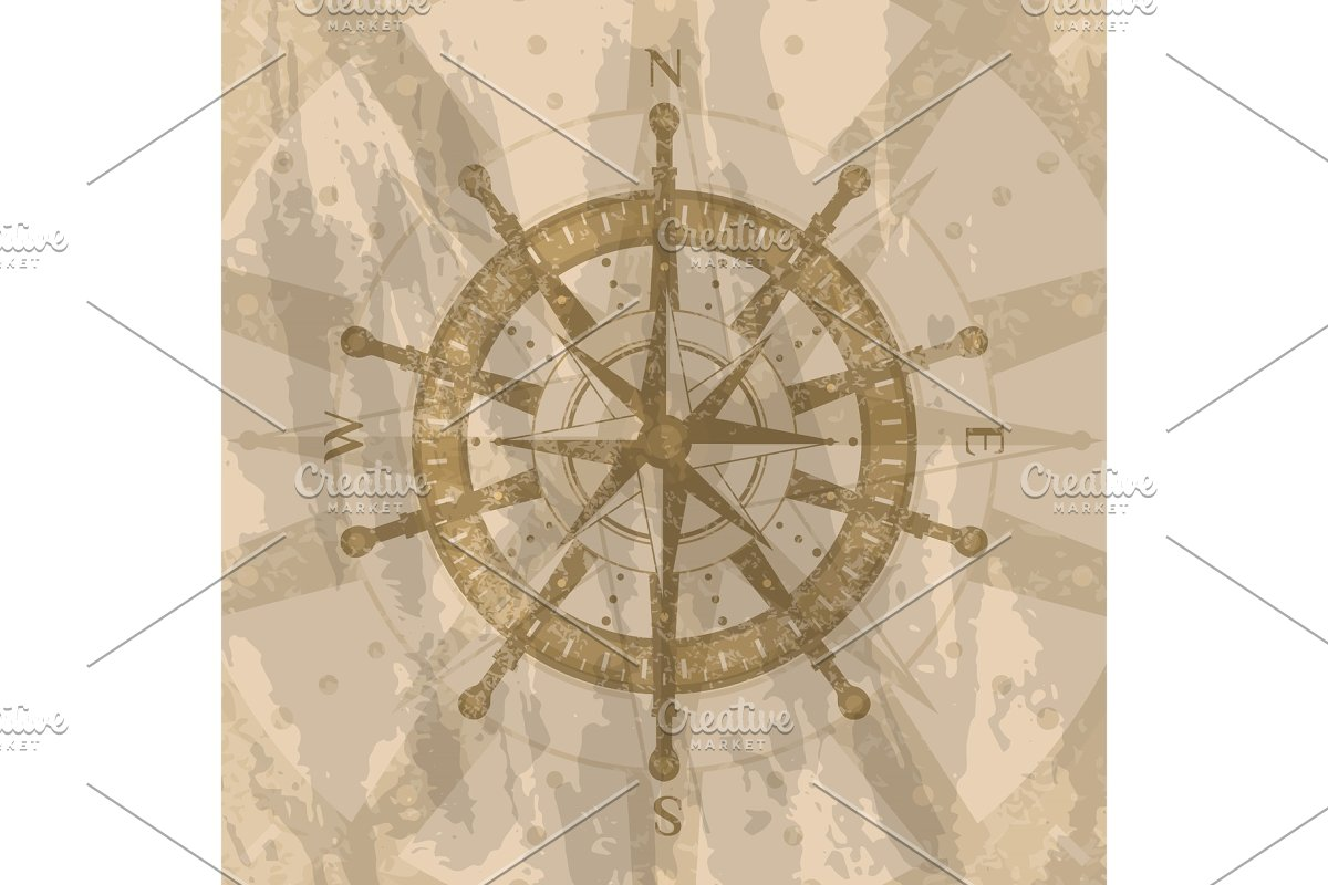 Vintage wind rose on background of world map in Illustrations - product preview 8