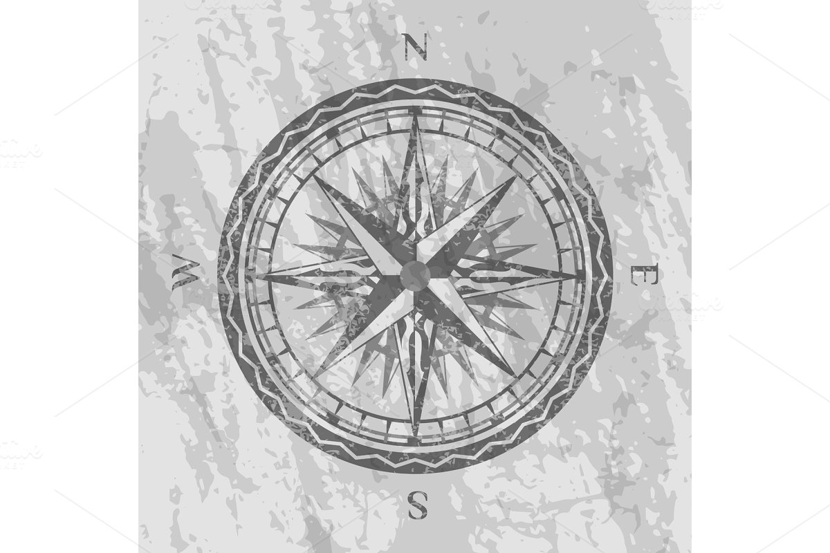 Compass rose on grunge grey background in Illustrations - product preview 8