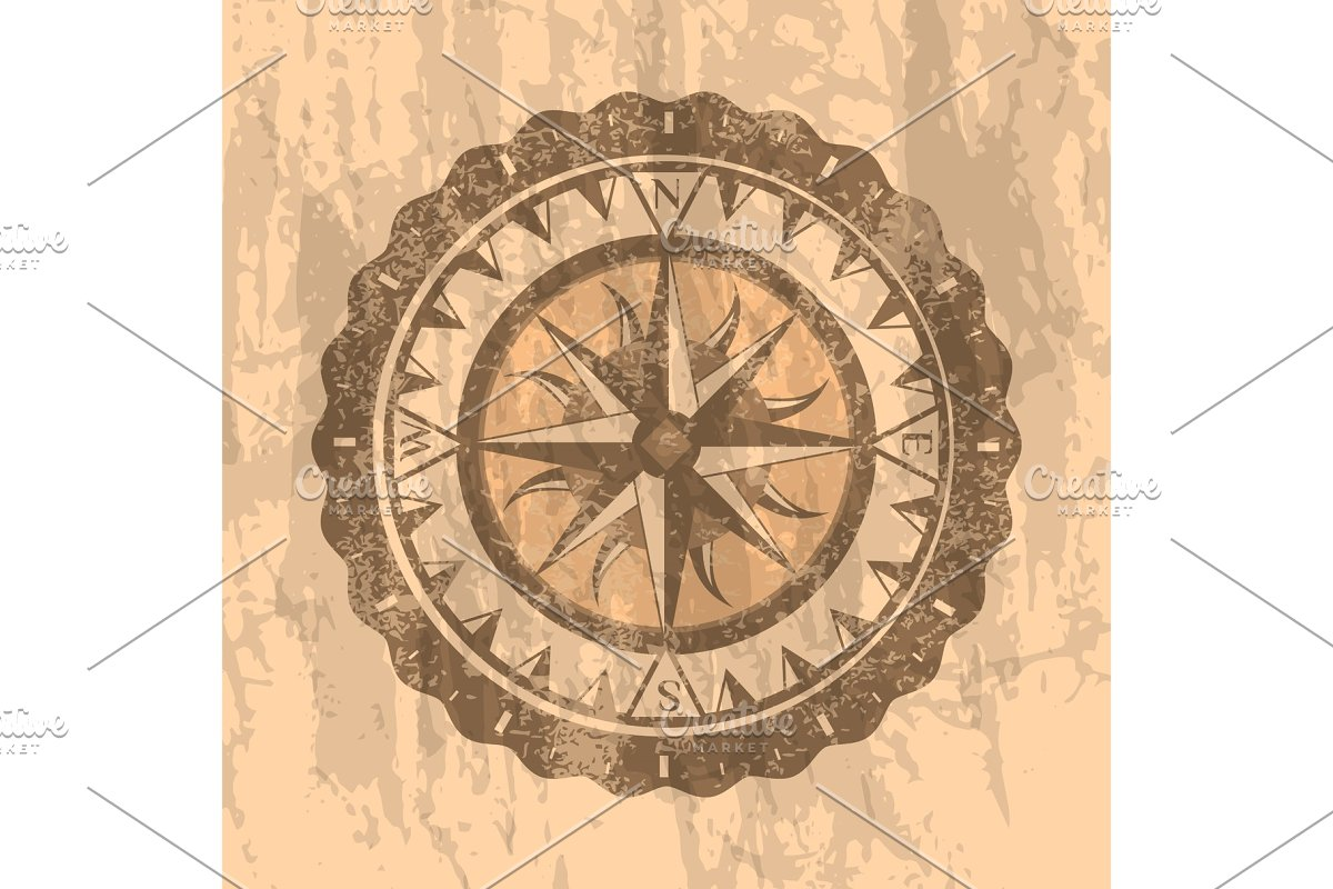 Grunge gray background with compass rose in Illustrations - product preview 8