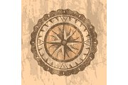 Grunge gray background with compass rose