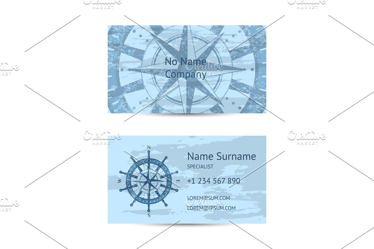 Nautical company business card layout in Illustrations - product preview 8
