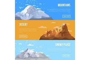 Mountain landscape flyers with high peaks
