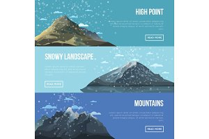 Mountaineering agency flyers with high peaks