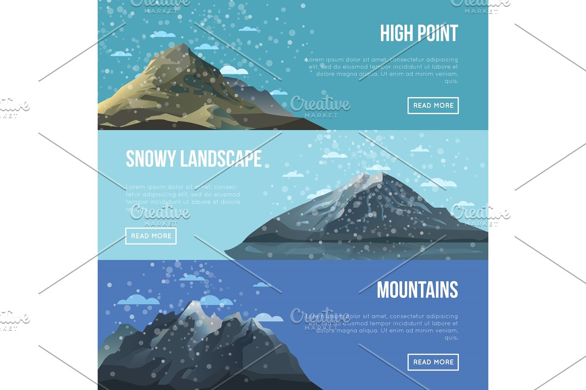 Mountaineering agency flyers with high peaks in Objects - product preview 8