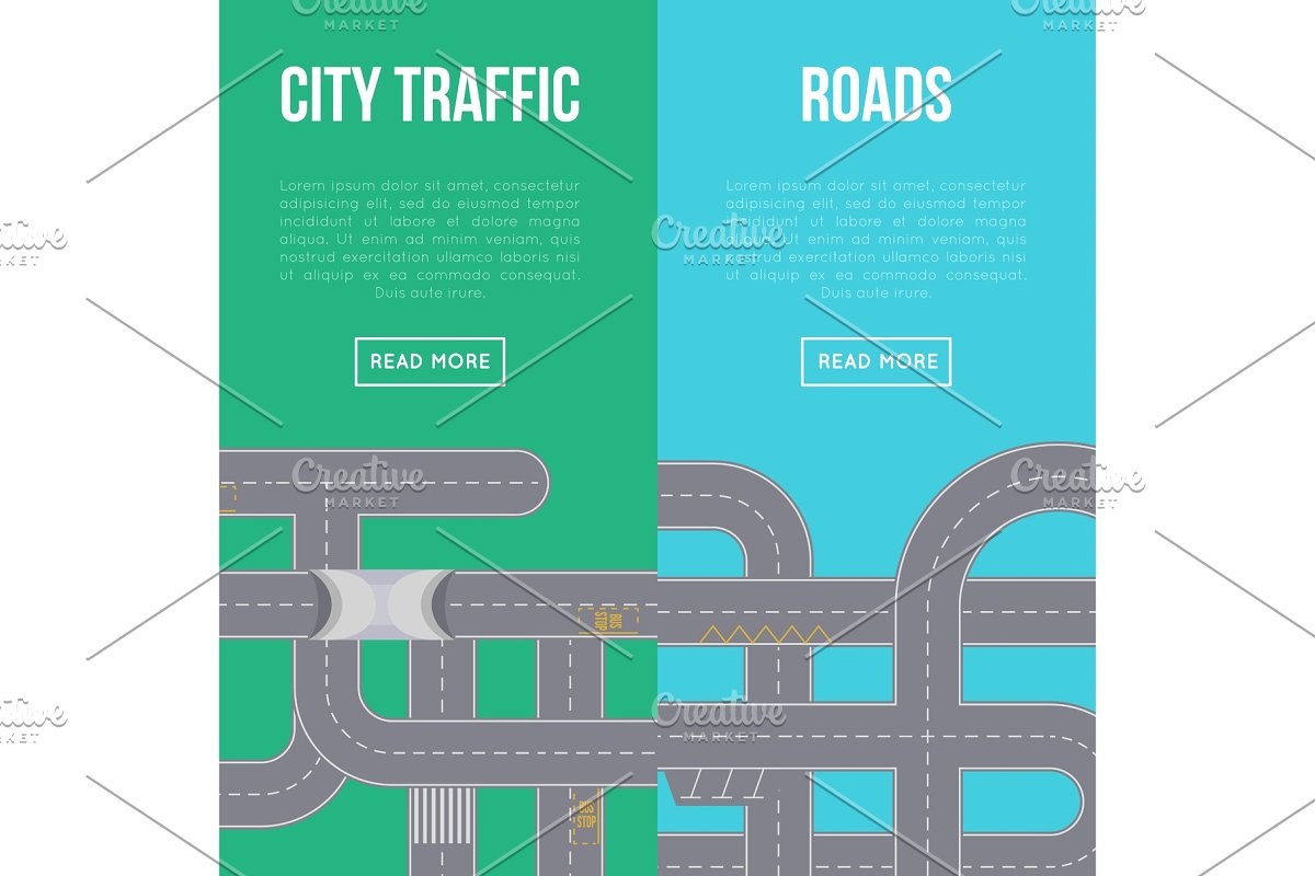 City traffic vertical flyers with highway roads in Illustrations - product preview 8