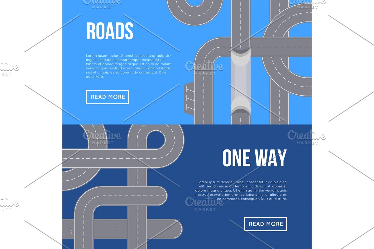 City traffic horizontal flyers with highway roads in Illustrations - product preview 8