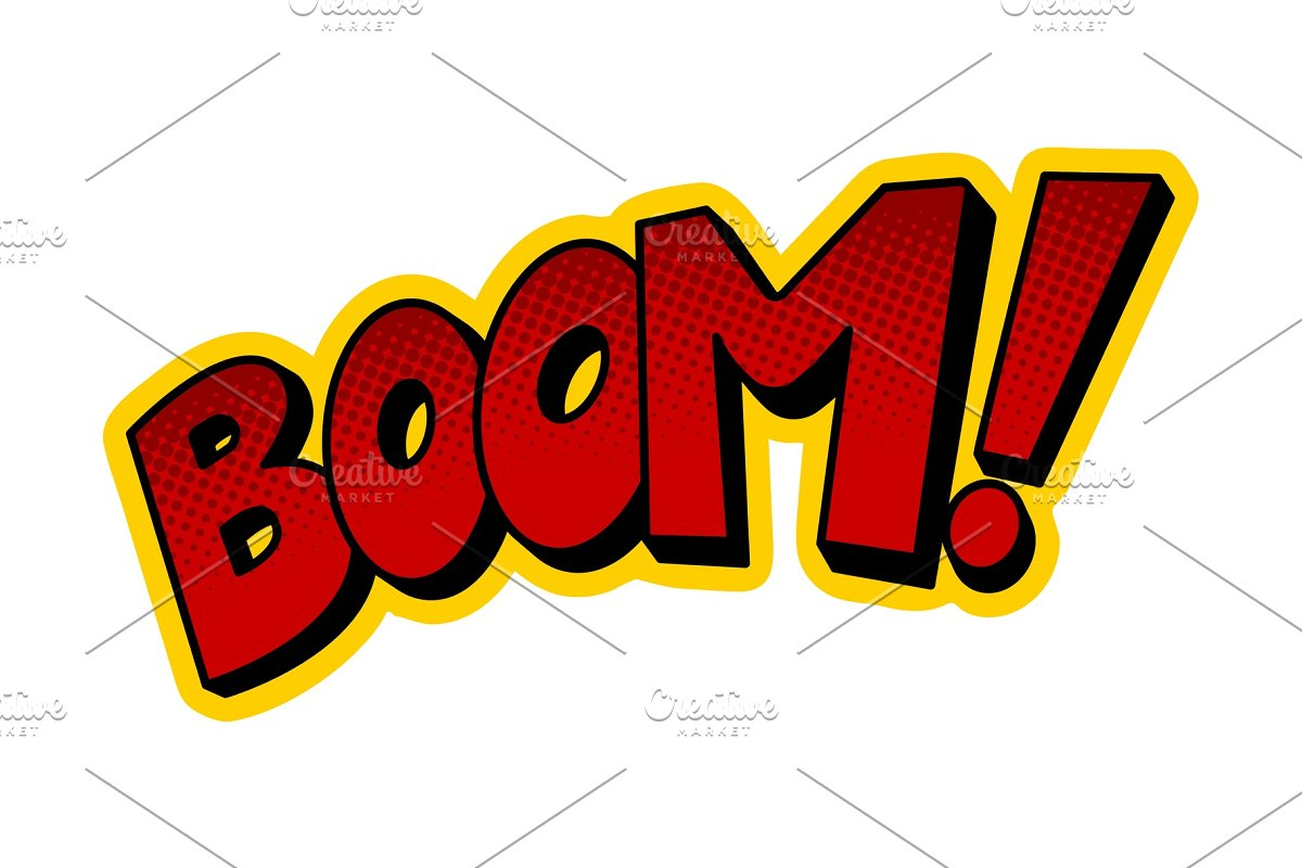 Boom word comic book pop art vector illustration in Illustrations - product preview 8