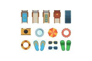 Beach vacation accessories isolated set