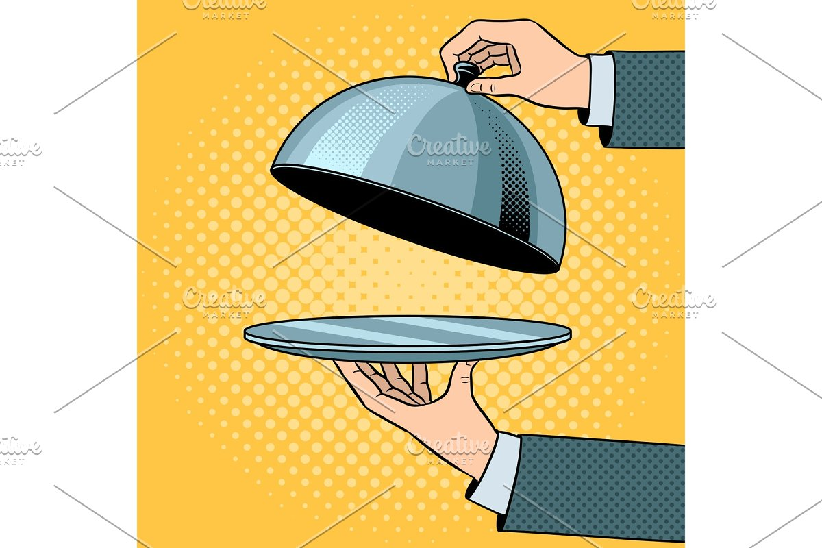 Dish plate with cloche pop art vector in Illustrations - product preview 8