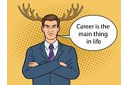Husband businessman with deer horns pop art vector