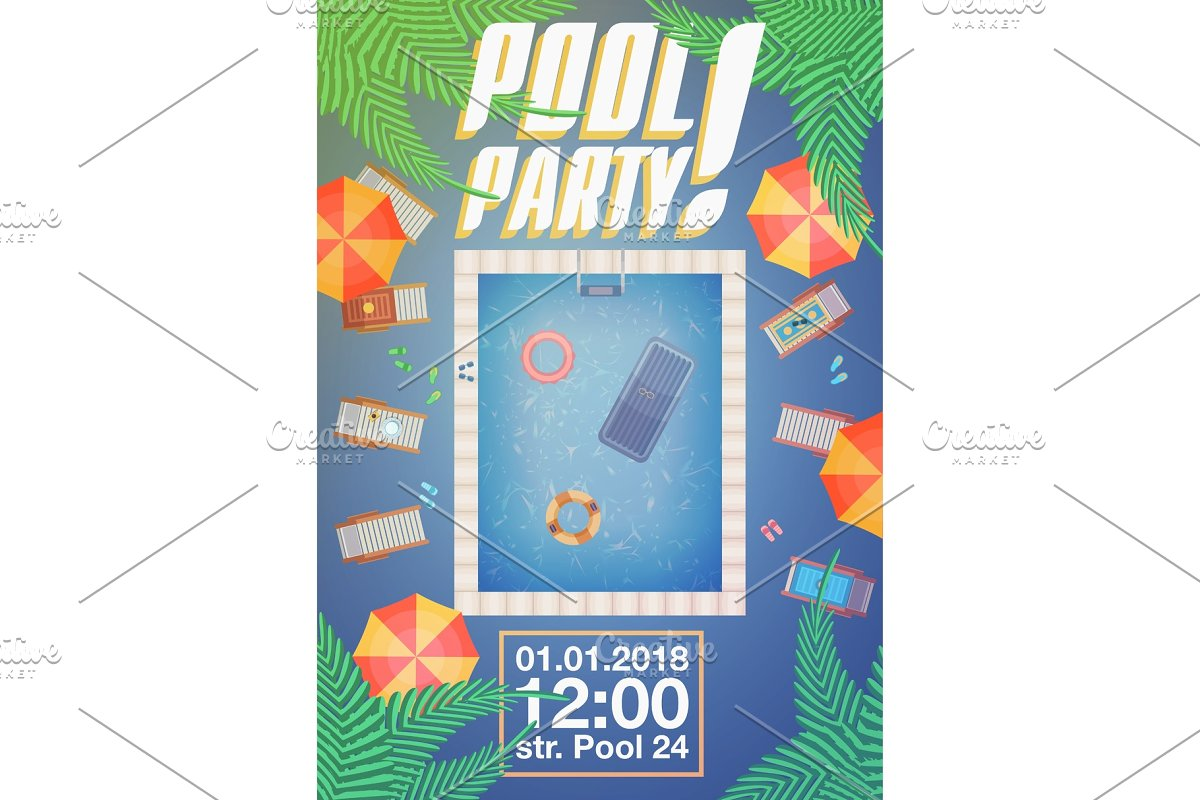 Summer pool party invitation layout in Objects - product preview 8