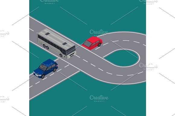 City Traffic Flyers With Cars In Road Ring