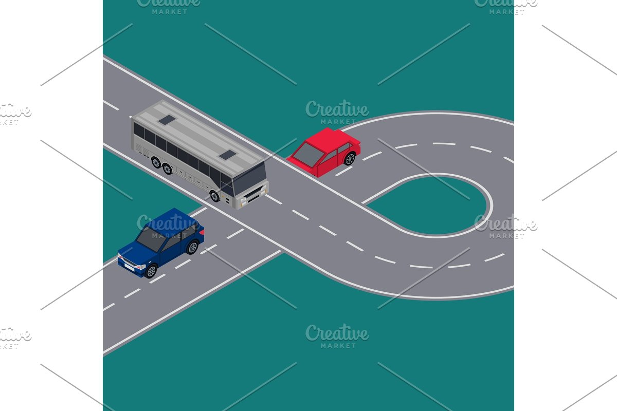 City traffic flyers with cars in road ring in Illustrations - product preview 8