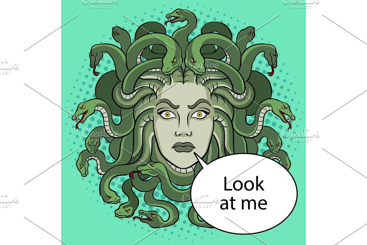 Medusa greek myth creature pop art vector in Illustrations - product preview 8