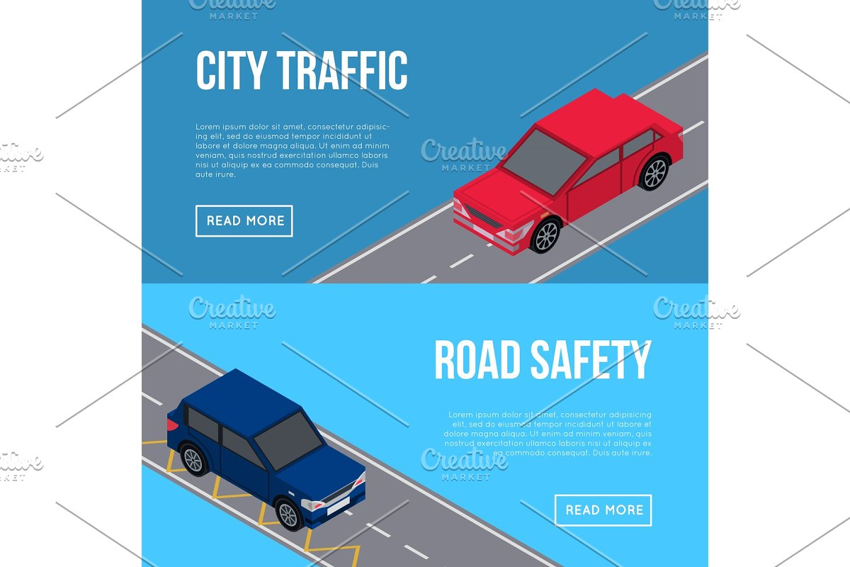 City traffic flyers with cars in road in Illustrations - product preview 8