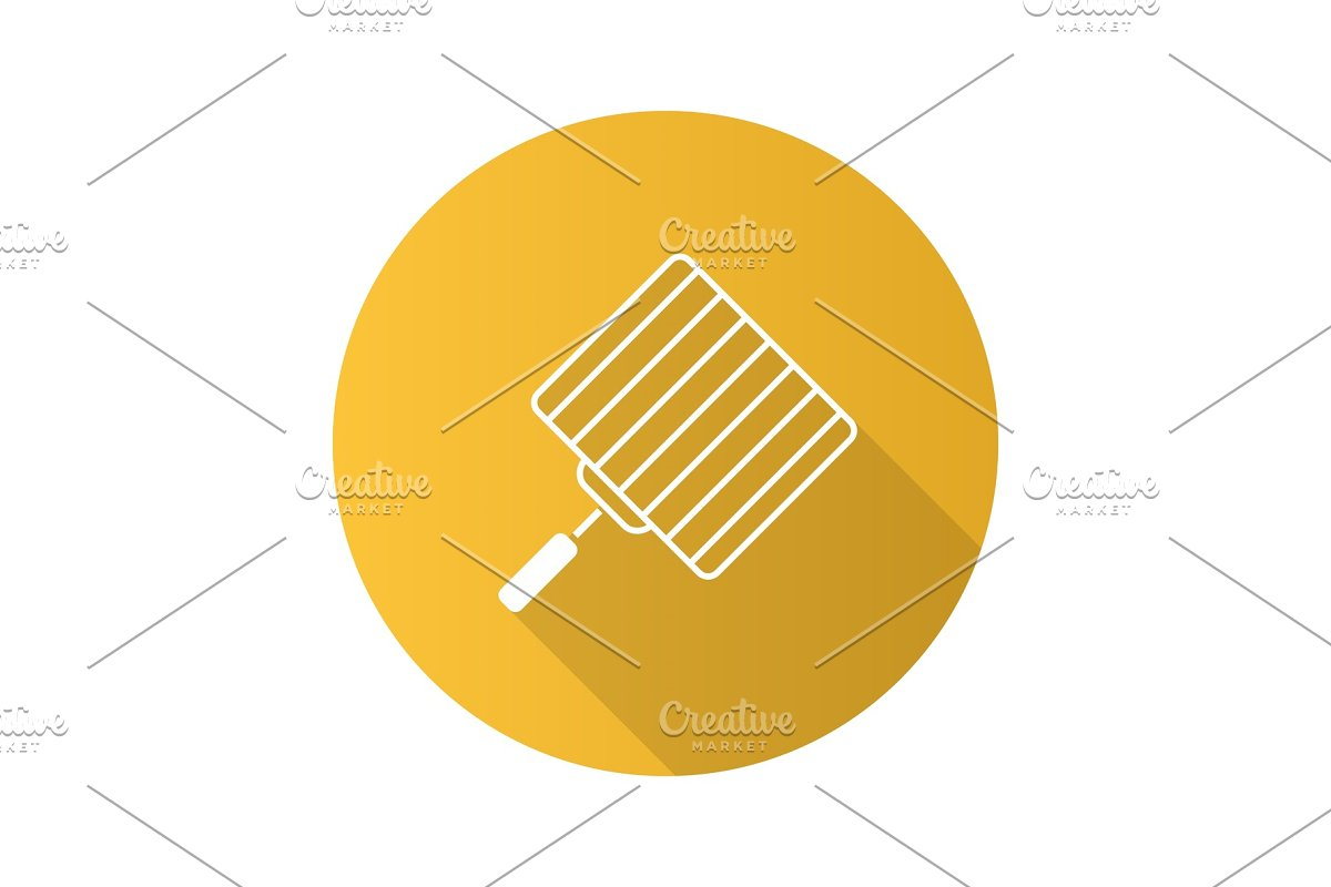 Hand grill flat design long shadow glyph icon in Graphics - product preview 8