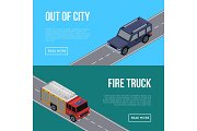 Out of city flyers with cars in road