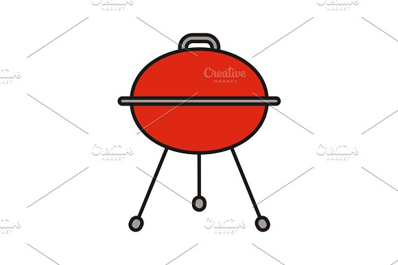 Kettle Barbecue Grill Color Icon