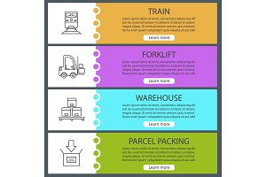 Cargo shipping web banner templates set