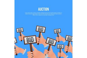 Auction poster with hands holding BID signs