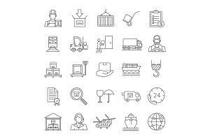 Cargo shipping linear icons set