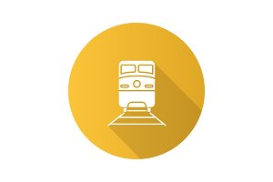 Train flat design long shadow glyph icon