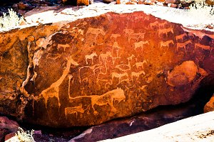 Prehistoric petroglyphs at Twyfelfontein archaeological site, Na