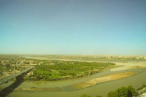 Aerial panoramic view to Khartoum, Omdurman and confluence of the Blue and White Niles, Sudan