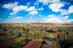 Aerial view to Asmara, capital of Eritrea