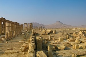 Panorama of Palmyra columns and ancient city, destroyed now, Syria