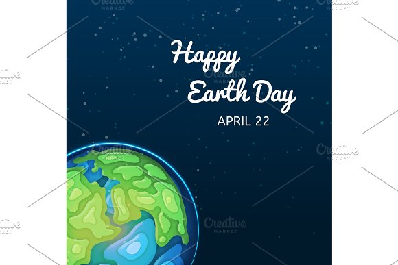 Happy Earth Day Greeting Card With Globe